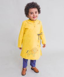 Tiber Taber Lion Embroidered Full Sleeves Kurta & Pyjama Set - Yellow