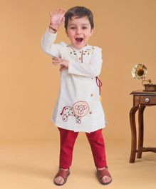 Tiber Taber Lion Embroidered Full Sleeves Kurta & Pyjama Set - White