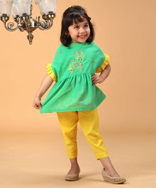 Tiber Taber Deer Embroidered Half Sleeves Top & Pants Set - Green