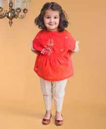 Tiber Taber Deer Embroidered Half Sleeves Top & Pants Set - Peach