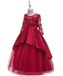 Pre Order - Awabox Full Sleeves Floral Embroidered Studded Gown - Red