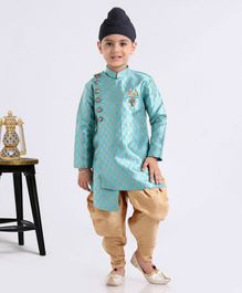 Babyhug Full Sleeves Zari Embroidered Kurta & Dhoti Set - Light Blue Golden