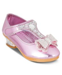 Kittens Shoes Beaded Bow Velcro Closure Mary Jane - Pink