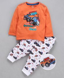Cucumber Full Sleeves Tee & Bottoms Set Vehicles Print - Orange & White