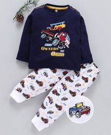 Cucumber Full Sleeves Tee & Bottoms Set Vehicles Print - Navy Blue & White