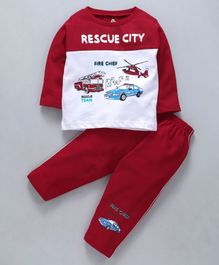 Cucumber Full Sleeves Tee & Bottom Set Rescue Team Print - White & Dark Red