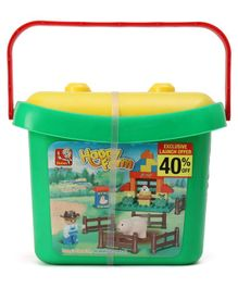 Sluban Happy Farm Blocks Game With Bucket Multicolor - 34 Pieces