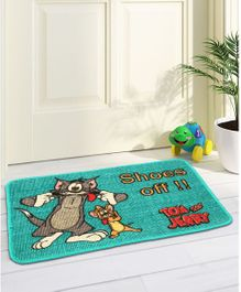 Saral Home Tom and Jerry Jute and Cotton Door Mat - Turquoise Blue