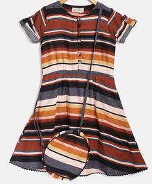 Bella Moda Half Sleeves Striped Dress With Sling Bag - Brown