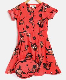 Bella Moda Half Sleeves Flower Print Dress With Sling Bag - Red