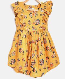 Bella Moda Sleeveless Flower Print Ruffled Front Dress - Yellow
