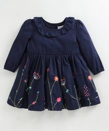 Babyoye Full Sleeves Cotton Frock Floral Embroidery - Navy Blue