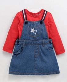 Babyoye Dungaree Style Frock With Inner Full Sleeves Tee Star Embroidery - Blue Red