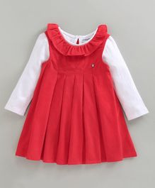 Babyoye Sleeveless Cotton Corduroy Frock With Inner Tee - Red White
