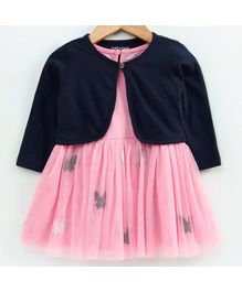 Babyoye Cotton Dress With Full Sleeves Shrug Butterfly Print - Pink