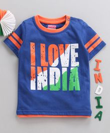 Babyhug Half Sleeves Tee I Love India Print - Navy Blue
