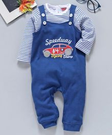Babyhug Dungaree Style Romper With Stripe Tee Car Patch - Blue