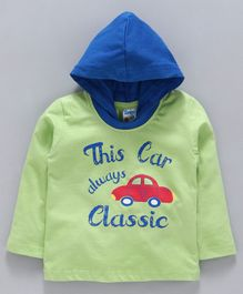 Tango Full Sleeves Hooded Tee Car Print - Green Blue