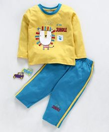 Tango Full Sleeves Tee And Track Pant King of The Jungle Print - Yellow Sky Blue
