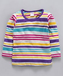 Tango Full Sleeves Stripe Tee - Grey Purple