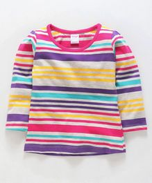 Tango Full Sleeves Stripe Tee - Grey Fuchsia