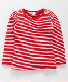 Tango Full Sleeves Stripe Tee - Red  White