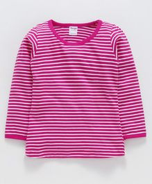 Tango Full Sleeves Stripe Tee - Fuchsia White