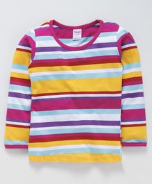 Tango Full Sleeves Stripe Tee - Multicolour Fuchsia