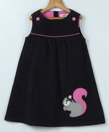 Beebay Sleeveless Squirrel Patch A Line Dress - Navy Blue