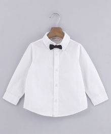 Beebay Solid Full Sleeves Shirt With Bow - White