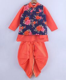 Beebay Rose Print Full Sleeves Kurta With Dhoti & Jacket - Orange