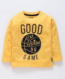 Fido Full Sleeves Tee Good Game Print - Yellow