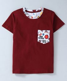 DEAR TO DAD All Over Star & Moon Back Print Half Sleeves Tee - Maroon