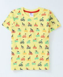 DEAR TO DAD All Over Bicycle Print Half Sleeves Tee - Yellow