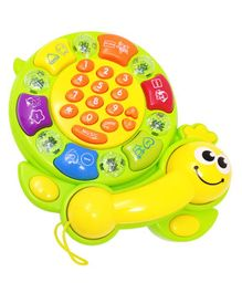 Kiddale Musical Activity Tortoise Toy With Telephone Receiver - Green Yellow