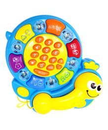 Kiddale Musical Activity Tortoise Toy With Telephone Receiver - Blue Yellow