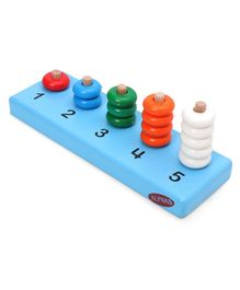 Alpaks Learn Counting Wooden Board With Rings - Multicolor