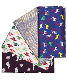 Kadam Baby Flannel Swaddle Wrap Pack of 4 - Multicolor