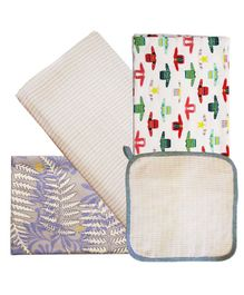 Kadam Baby Swaddle Wrap With Wash Cloth Pack of 4 - Multicolor
