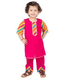 Amairaa Striped Half Sleeves Kurti With Pants - Pink