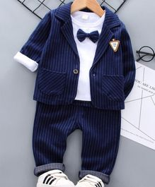 Pre Order - Awabox Full Sleeves Striped Three Piece Party Suit With Bow Tie - Navy Blue