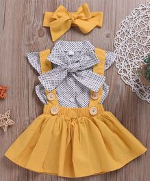 Pre Order - Awabox Dot Print Cap Sleeves Top With Headband & Skirt - Yellow