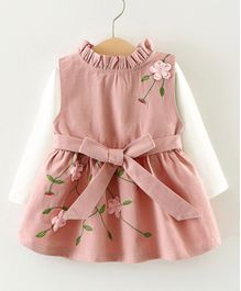 Pre Order - Awabox Flower Embroidered Dress With Full Sleeves Tee - Pink