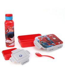 Marvel Spider Man Combo of Lunch Box & Water Bottle Spider Man Print - Red & Grey