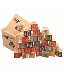 Syga Colourful Learning Wooden Alphabet Blocks Letters - 27 Pieces