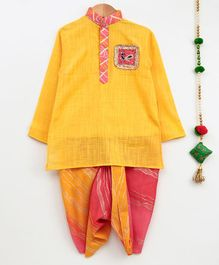 Cute Couture Full Sleeves Peacock Patch Work Kurta & Shaded Dhoti Set - Yellow