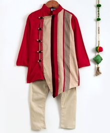 Cute Couture Full Sleeves Striped Asymmetrical Kurta & Pajama Set - Red