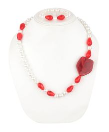 Daizy Pearl & Stone Detailed Necklace & Bracelet - Red & White