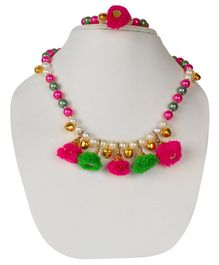 Daizy Colourful Pearls & Pom Pom Detailed Necklace & Bracelet - Multi Colour