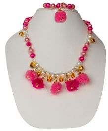 Daizy Colourful Pearls & Pom Pom Detailed Necklace & Bracelet - Pink